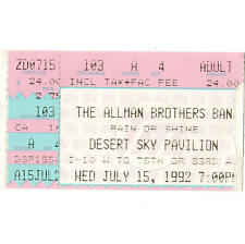 Allman Brothers Band & Blues Traveler Concert Ticket Stub Phoenix 7/15/92 Desert