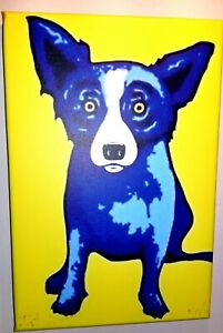 Not Framed Stretched Canvas Print on wood Home Decor Wall art Blue dog Size 8X12