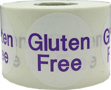 White with Purple Gluten Free Stickers, 1.5 Inches Round, 500 Labels on a Roll