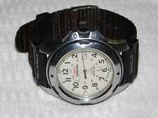 Men's TIMEX EXPEDITION Shock Indiglo Date Brown Canvas New Band  Quartz Watch