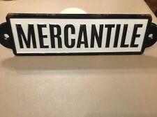 METAL BLACK & WHITE mercantile SIGN VINTAGE FARMHOUSE STYLE WALL PLATE NEW