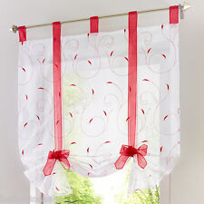 1PC Voile Tab Top Sheer Kitchen Balcony Window Curtain Liftable Roman Blinds