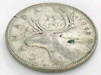 1949 Canada Twenty Five 25 Cent Quarter Circulated Canadian George VI Coin J537