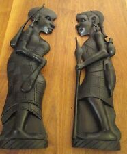 Pair of beautiful African wall carvings, 50cm tall x 13cm across. Male & female.