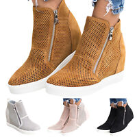 Womens High Top Zipper Platform Solid Sneakers Round Toe Mesh Heels Casual Shoe