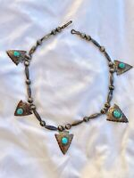 Navajo Silver Turquoise Arrow Head Necklace Mellon & Bench Beads Signed Tom Tso