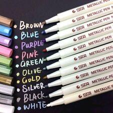 10 Pennarelli Colorati STA Penne per Carta Metallo Vetro Plastica Ceramica Legno