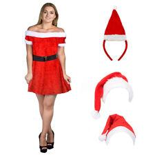 Ladies MISS Babbo Natale Costume Velluto Mrs Claus Costume Natale Natale