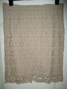 """WAIST 34"""" FITS UK 14 LADIES SPECIAL OCCASION BEIGE EMBROIDERED SKIRT LA REDOUTE"""