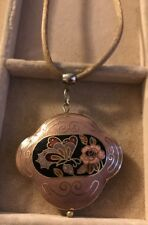 Vintage Puffy Cloisonne Pendant Necklace Flowers Butterfly Brown Chord
