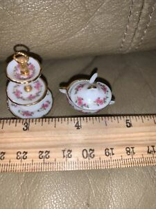 DOLLHOUSE MINIATURES - REUTTER PORCELAIN 3 TIER CAKE STAND And Dish With Ladle.