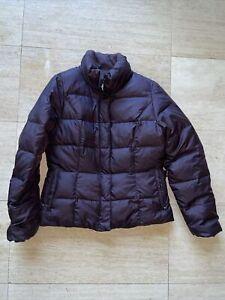 Eddie Bauer Premium Goose Down Full Zip Puffer Jacket Womens M Purple Brown