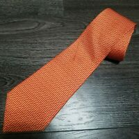 HERMES 100% Authentic Silk Tie Model 5139 HA H All over Print Geometric Orange