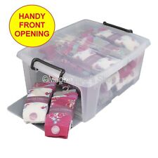 NEW Pack Of 5 Clear Plastic Storage Boxes Box & Lid 20 Litre With Opening Front