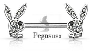 *NEW OFFICIALLY LICENSED PLAYBOY Clear Crystal Bunny Nipple Bar Barbell