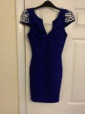LIPSY STUNNING BLUE COBALT DRESS WITH JEWELLED SHOULDERS BANDAGE .SIZE 8.NEW.