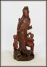 """Superb """"Chinese Wood Sculpture of Kwan Yin, Her Children with a Dragon at feet"""""""