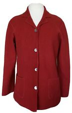 Talbots 100% Boiled Wool Cardigan Sweater Jacket Shell Buttons Red Sz XL