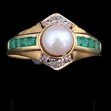 Vintage Pearl Emerald Diamond 18k Yellow Gold Ring Estate Fashion Gift