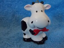 Porcelain Black & White Cow With Red Bow Christmas Ornament