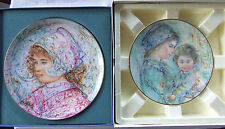 2 Edna Hibel for Royal Doulton Boxed Collector Plates Impressionist Portraits