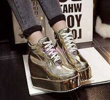 Womens Bling Bling Hidden Wedge Heel Platform High Top Boots Sneakers Shoes 2017