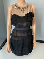 LANVIN x H&M 100% Silk Dress Black Ruffle Size 34 Uk 6 Gc