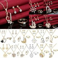 Fashion Women Wedding Jewelry Set 18K Gold Plated Crystal Necklace Earrings Ring