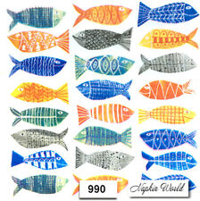 (990) TWO Individual Paper LUNCHEON Decoupage Napkins - COLORFUL FISH ARTSY