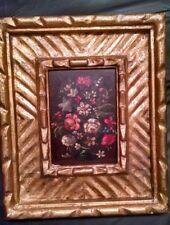 Antique Hand Painted Original Floral Oil Painting, Gilt Gesso Frame
