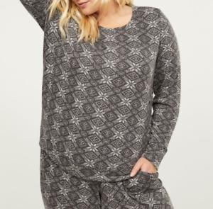 Cacique by Lane Bryant Plus Grey Christmas Soft Cozy Lounge Pajama Top 22/24