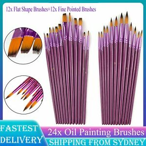 24X Purple Oil Painting Brushes Set Acrylic Watercolor Artist Face Paint Craft A