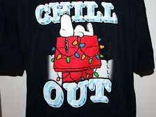 Peanuts Snoopy Chill Out Christmas Men's Large Blue T Shirt NWT