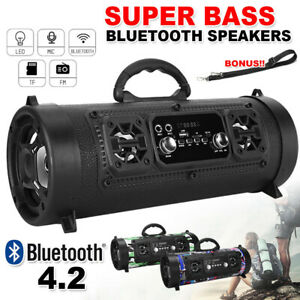 Portable Wireless Bluetooth Speakers Stereo Bass Outdoor Subwoofer USB/TF/ Radio