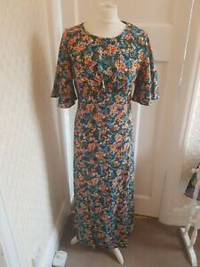 In Vogue Paris Green Floral Vintage Stylw Dress Size Small Long With Splits