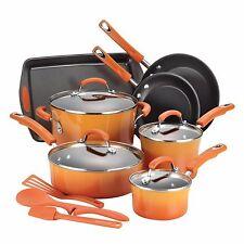 Cookware Set 14-Piece Pots Pans Non-Stick Kitchen Hard Enamel Orange Rachel Ray