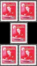 5x CANADA 1951 CANADIAN PRIME MINISTER WL McKENZIE FV FACE 20 CENT MNH STAMP LOT