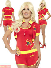 Ladies Deluxe Baywatch Costume Adults Lifeguard Fancy Dress Womens 1990s Outfit