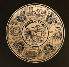 "Vintage souvenir plate Universal Studios California Blue & White 10"""