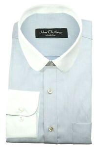Thomas Shelby Peaky Blinders Men's Penny Collar White Sky Blue Pinstripes Shirt