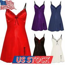 US Womens Lace Satin Silk Slip Dress Sleepdress Nightdress Pajamas Robe Babydoll