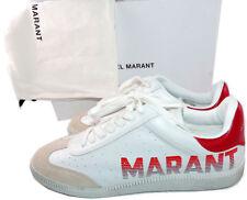Isabel Marant Bryce Logo-White Cuero Zapatillas Cordones Zapatos Atléticos 39