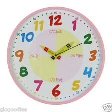 Hometime Teach The Time Round Children's Wall Clock Pink Girls Bedroom 30 Cm