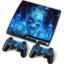 PS3 SLIM PLAYSTATION 3 SLIM SKIN ADESIVI in PVC 4 PS3 E 2 PADS * Blue Fire *