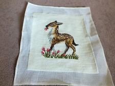 """Collectible Needlepoint Sampler """"Bambi Floral"""" 12x10"""" Worked Area Ready to Frame"""