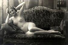 1910s Antique erotic nude Girl woman sofa vintage risque Photo photograph 4x6