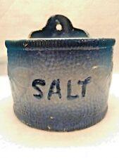 SALT CROCK-Antique/Vintage Pottery COBALT Blue and White Salt-Glazed  BUTTERFLY