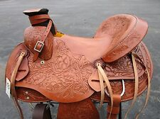 15 16 WADE ROPING RANCH RODEO WESTERN PLEASURE TRAIL BROWN LEATHER HORSE SADDLE