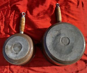 Série de 2 casseroles poêlons Le Creuset  vintage en fonte émaillée Teck