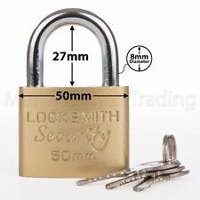 PADLOCK 50MM LOCKSMITH 3 KEYS GOOD QUALITY STRONG METAL GARAGE SHED SECURITY